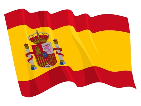 Political waving flag of Spain Vectores