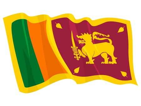 sri: Political waving flag of Sri Lanka Illustration