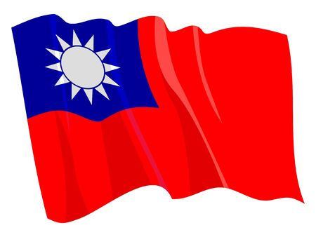 Political waving flag of Taiwan