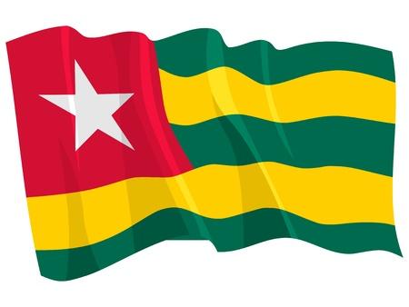 togo: Political waving flag of Togo