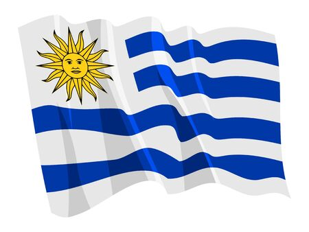 Political waving flag of Uruguay Иллюстрация