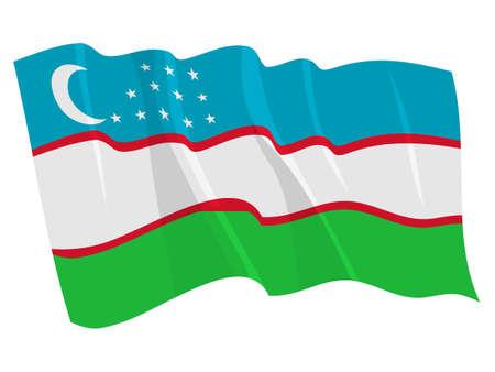 oezbekistan: Politieke wapperende vlag van Oezbekistan
