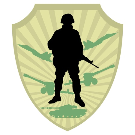 military silhouettes: Silhouette of soldier on military coat of arm background