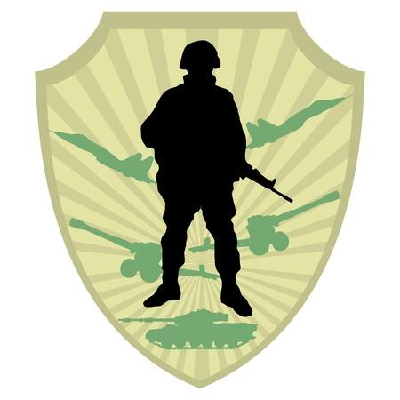 war tank: Silueta de un soldado en la capa de fondo del brazo militar de