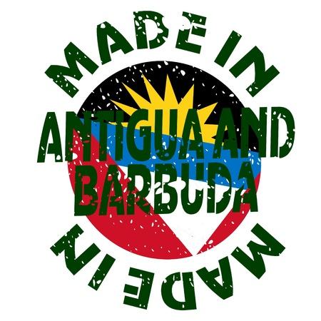 barbuda: vector label Made in Antigua and Barbuda