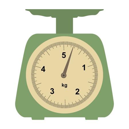 масса: Иллюстрация внутренних взвешивании весы на белом Иллюстрация