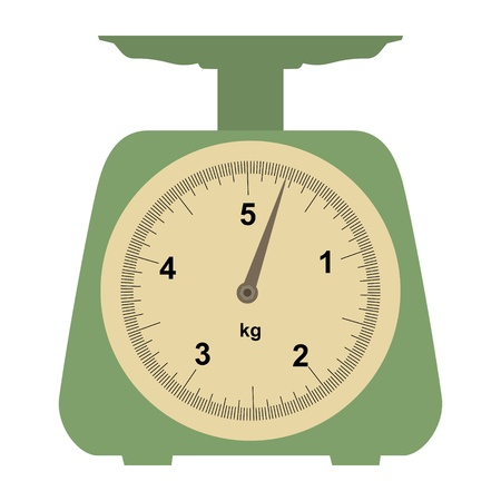 weight: Illustration of a domestic weigh-scales on white