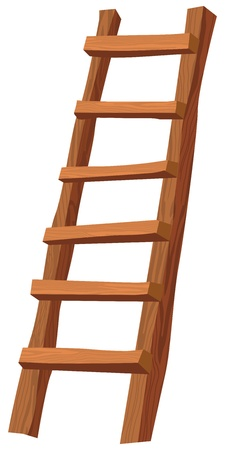 climbing ladder: An illustration of a wooden ladder on white Illustration