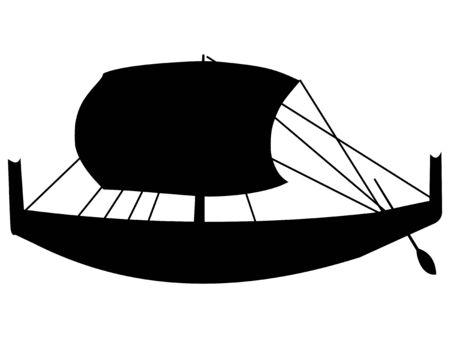barca a vela: silhouette di barca a vela antica