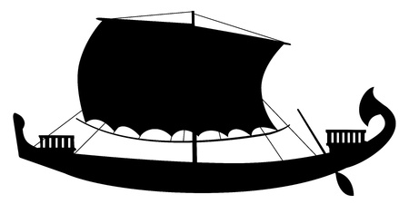 galley: silhouette of ancient sail boat Illustration