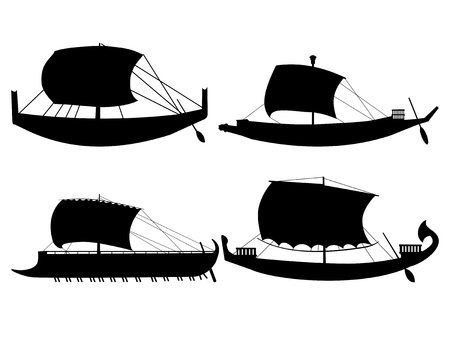 galley: set of silhouettes of ancient sail boats Illustration