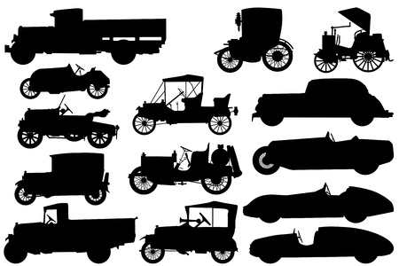 old cars: Big set of silhouettes of classical cars
