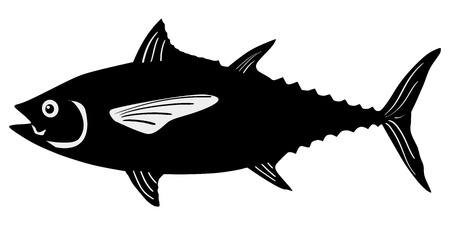 silhouette of the tuna on white background Vectores