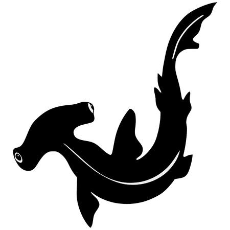 pez martillo: silueta del tiburón martillo en fondo blanco Vectores