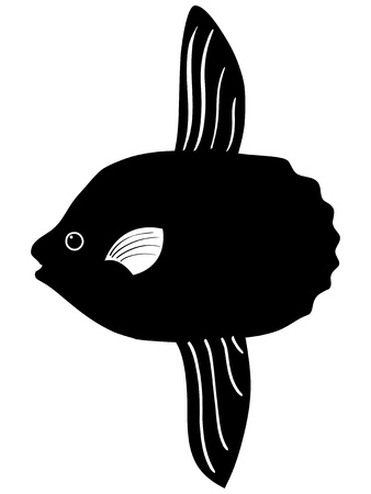 sunfish: silhouette of the sunfish on white background