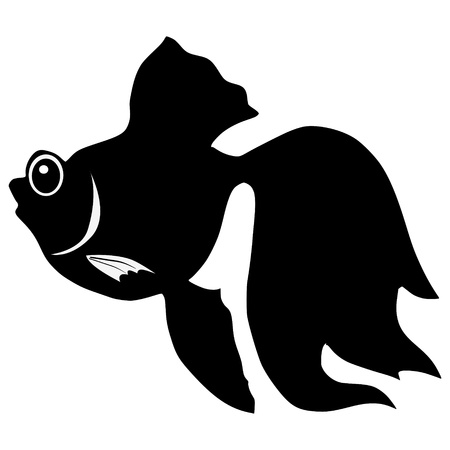 silhouette of the goldfish on white background Illustration