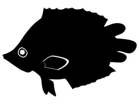 silhouette of the leaf fish on white background Stock Vector - 15786537