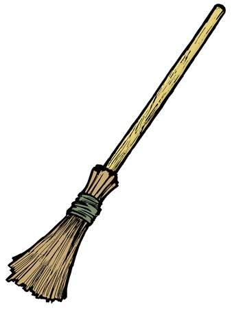 Illustration of a broom on white background Vector