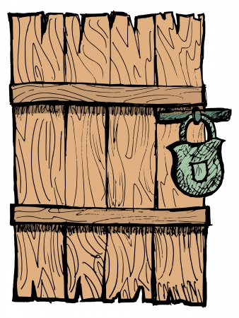 old wooden door: Old wooden, closed door with a lock Illustration
