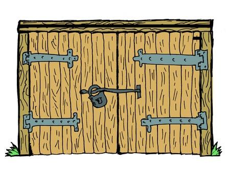 portones: Vieja puerta de madera, bajo llave en el fondo blanco