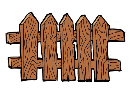 white picket fence: Old wooden, fence on the white background Illustration