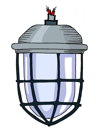 Traditional industrial lamp with protection on white Vector