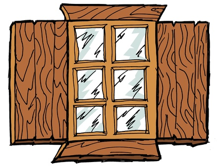 wooden window: Old wooden window with the storm window Illustration
