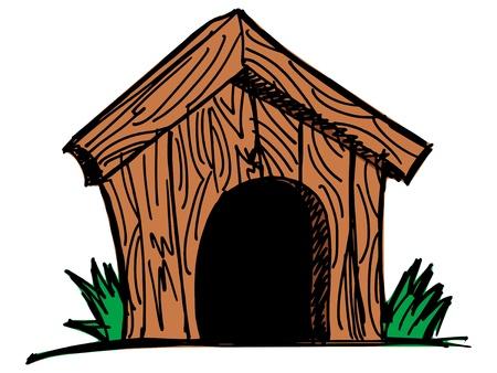 casa de perro: Perro de la casa de madera en el fondo blanco