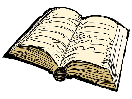 One opened old book on white background Vector