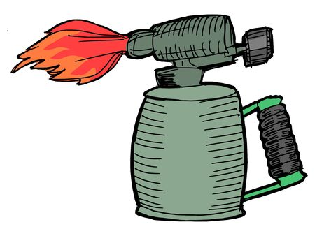 Illustration of the blowlamp with opened flame Vector