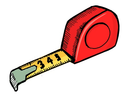 inch: Illustration of an industrial tape measure on white