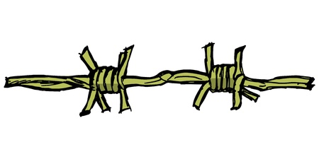 barbed wire fence: Illustration of barbed wire on white background Illustration