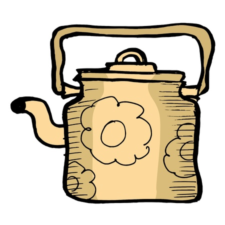 Hand drawn illustration of the vintage teapot Vector