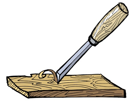 wood carving: hand drawn illustration of the chisel with plank