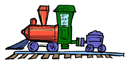 Hand drawn illustration of a toy steam engine train Vector