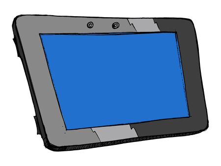 hand drawn illustration of an computer tablet Vector