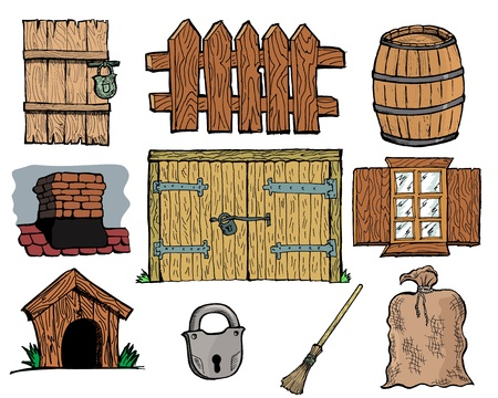 Set of hand drawn, vector illustration of vintage rural objects Vector