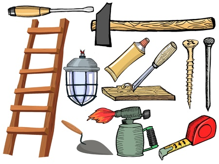 Set of hand drawn illustration of the tools Vector