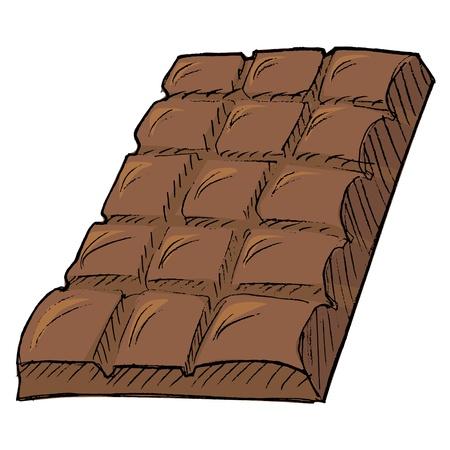 Hand drawn,  cartoon illustration of bar of chocolate Vector