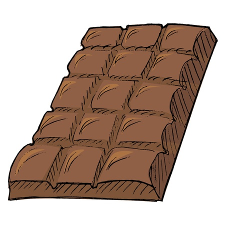 candy shop: Hand drawn,  cartoon illustration of bar of chocolate