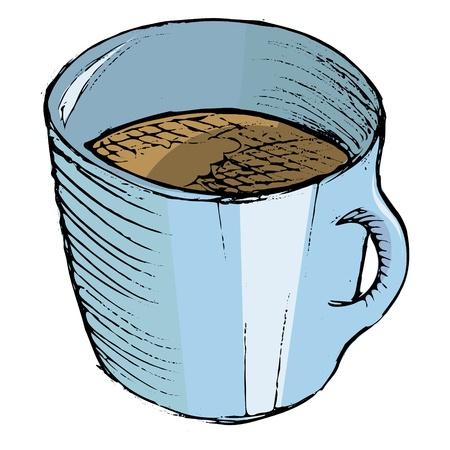 hand drawn cartoon: Dibujado a mano, dibujos animados ilustraci�n de la taza de caf� Vectores