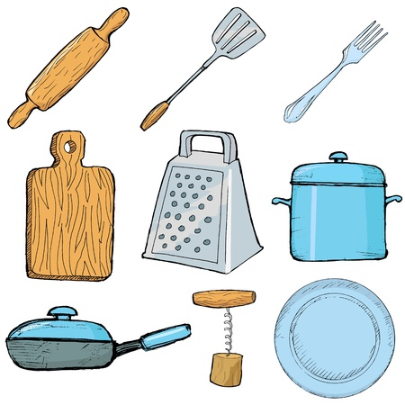 set of hand drawn, illustration of kitchen objects Vector