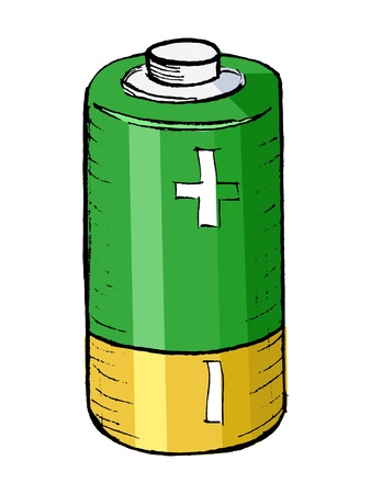 hand drawn, cartoon illustration of battery Vector