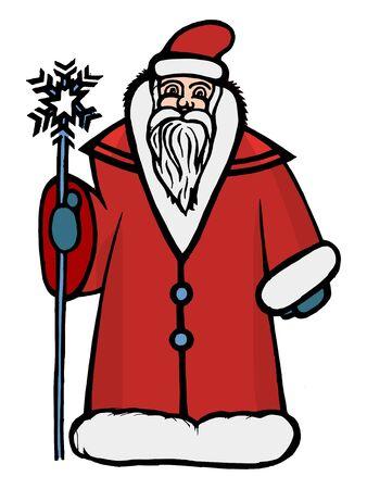 hand drawn cartoon: Dibujado a mano, ilustraci�n de dibujos animados de Santa Claus
