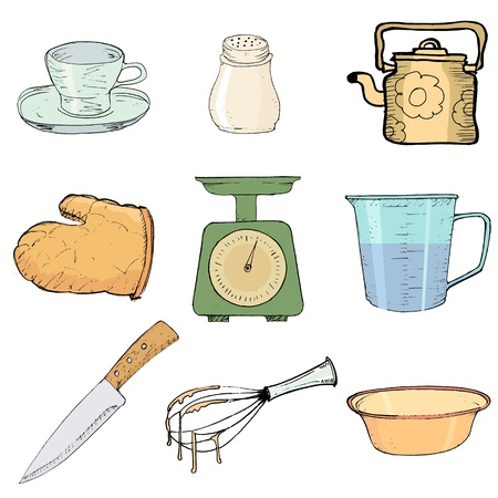 pot holder: set of hand drawn, illustration of kitchen objects