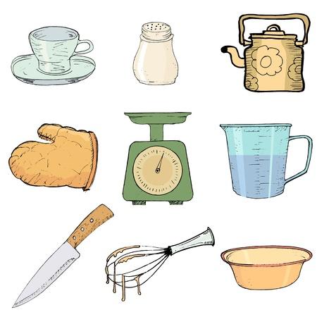 set van hand getrokken, illustratie van keuken objecten Stock Illustratie
