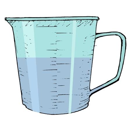 hand drawn, Vector, schets illustratie van keuken maatbeker Stock Illustratie