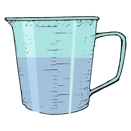 Hand gezeichnet, Vektor, Skizze Darstellung Küche Messbecher Vektorgrafik