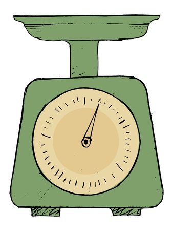 weighing: hand drawn, vector, sketch illustration of domestic weigh-scales Illustration