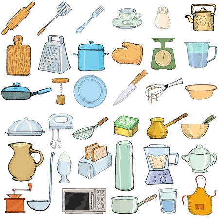 set of hand drawn, vector illustration of kitchen objects Stock Vector - 16992792